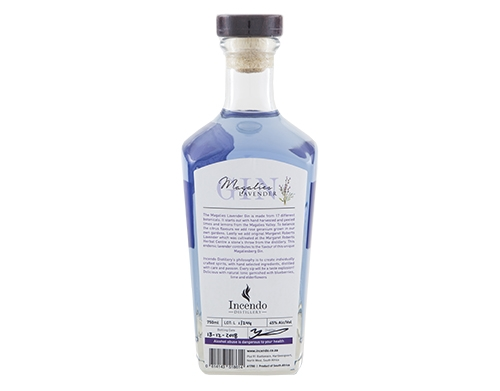Magalies Lavender Gin 750ml Bottle Back