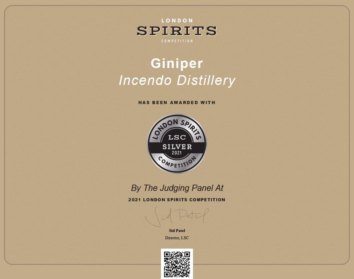 2021 London Spirit Awards - Silver - Giniper Gin
